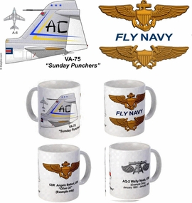 "VA-75 ""Sunday Punchers"" A-6 Intruder Mug"