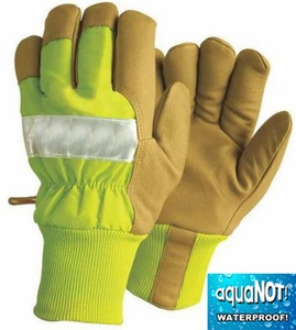 1939KWP AquaNOT!&#174 WATERPROOF GRAIN PIGSKIN HEATKEEP&#174 INSULATED HI-VIS WORK GLOVES