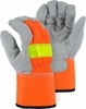 1954T 100g THINSULATE&#153 LINED HI-VIS SPLIT COWHIDE WORK GLOVES<BR>CLOSEOUT PRICE $5.99
