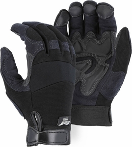 2139BK ARMOR SKIN&#153 HAWK SYNTHETIC LEATHER MECHANICS GLOVES w/DOUBLE PALM & FINGERTIPS