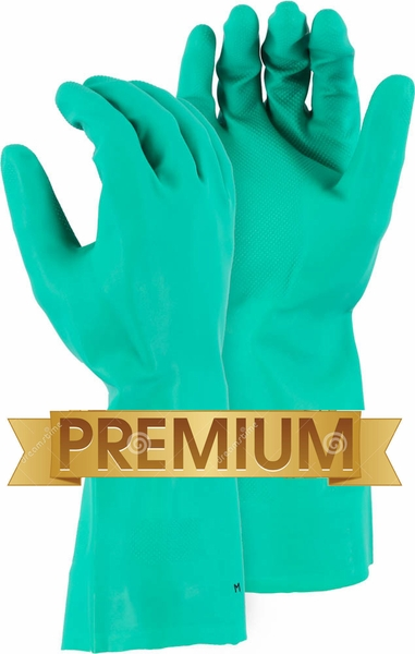 3248 FLOCK LINED 18mil HEAVY DUTY GREEN NITRILE CHEMICAL GLOVES<BR>SPECIAL PRICING!