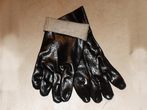 "3362RJ - 12"" BLACK DOUBLE DIPPED PVC ROUGH FINISH JERSEY LINED GLOVES CLOSEOUT PRICE $2.00 PER PAIR"