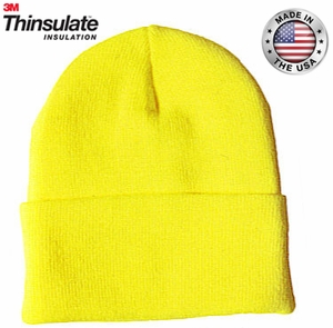 4T176-HVY HI-VIS SAFETY YELLOW THINSULATE&#153 INSULATED CLASSIC KNIT CUFF HAT<BR>CLOSEOUT PRICE $4.99
