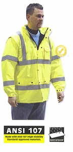 75-1303 HIGH VISIBILITY COLD WEATHER PARKA WINTER POLAR FLEECE LINED CLASS 3