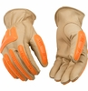 98A IMPACT PROTECTION HI-VIS UNLINED GRAIN COWHIDE WORK GLOVES<BR>CLOSEOUT PRICE $11.99