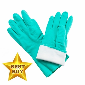 NF15 FLOCK LINED 15mil GREEN  NITRILE CHEMICAL GLOVES<br>SPECIAL PRICING!