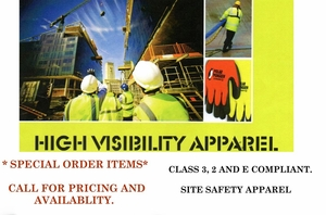 "<font size=""2""><font color=""0000ff"">HI-VIS APPAREL-<FONT COLOR=""009900"">SPECIAL ORDER</font color></font size> - VESTS, HOODED PULLOVERS, RAIN WEAR, LEG WEAR & MORE"