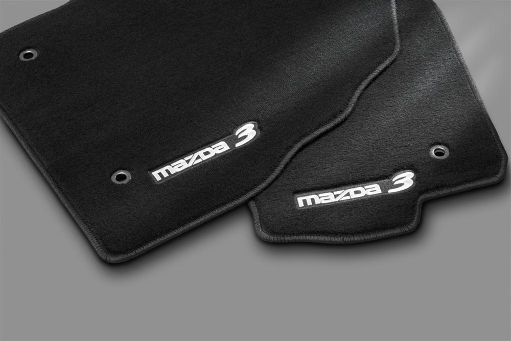 genuine 2010 2013 mazda 3 floor mats charcoal mazda3 logo. Black Bedroom Furniture Sets. Home Design Ideas