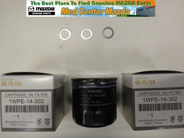 Genuine Mazda Skyactiv Technology 3 pack oil filter and 3 drain plug washers