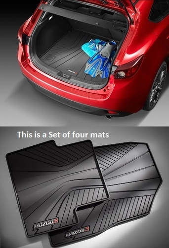 Mazda 3 Hatchback Rear Rubber Cargo tray with a set of 4 All Weather Floor Mats