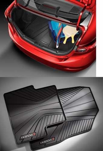 Mazda 3 Sedan Rear Rubber Cargo tray with a set of 4 All Weather Floor Mats