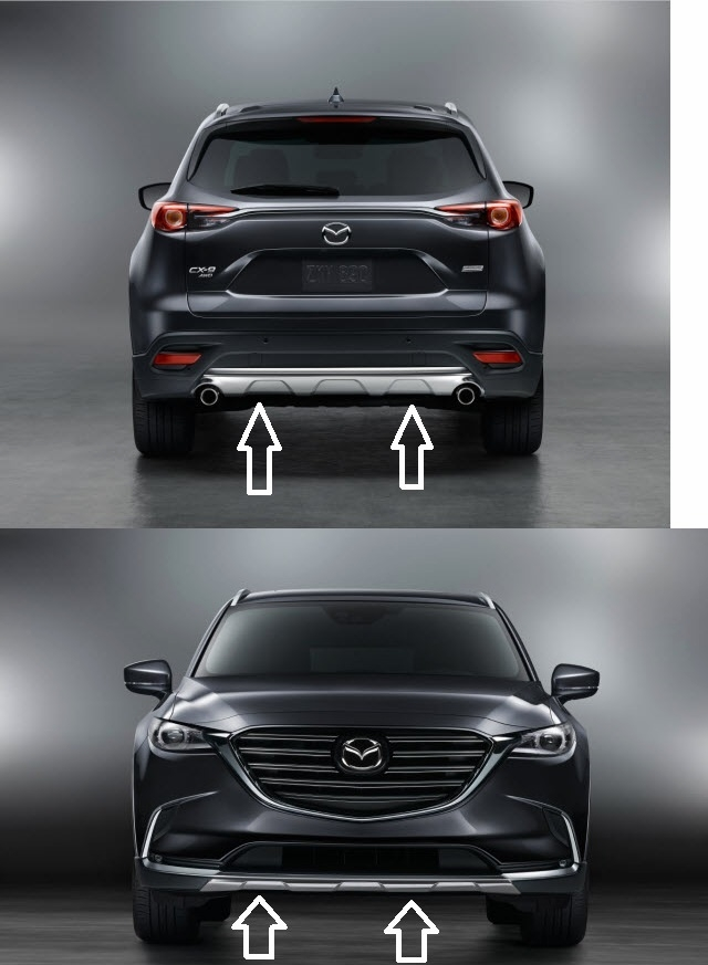 Mazda Cx 9 Front And Rear Bumper Trim Grand Touring And Signature Models Only 00008yn32