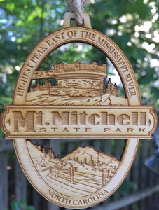 Mount Mitchell State Park Wood Christmas Ornament