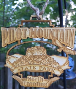 Pilot Mountain State Park Wood Christmas Ornament