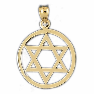 14K Gold Encircled Jewish Star of David Charm