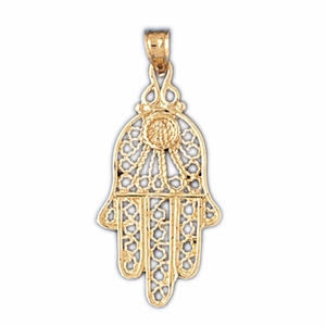 14K Gold Hamsa Hand Protection Pendant