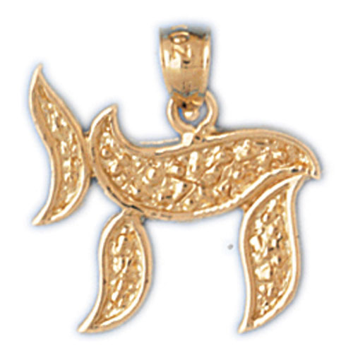 14K Gold Hebrew Jewish Chai Life Charm w/Gold Nugget Design