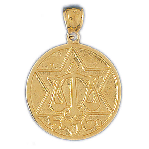 14K GOLD JEWISH MEDAL CHARM - STAR OF DAVID