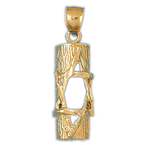 14K Gold Jewish Star of David Inscribed Mezuzah Pendant