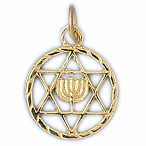 14K Gold Jewish Star of David & Menorah Charm
