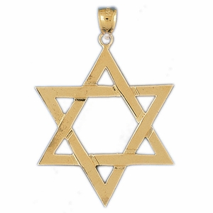 14K Gold Jewish Star of David Pendant