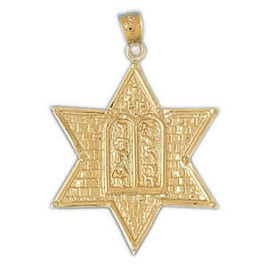 14K Gold Jewish Star of David w/Ten Commandments Pendant