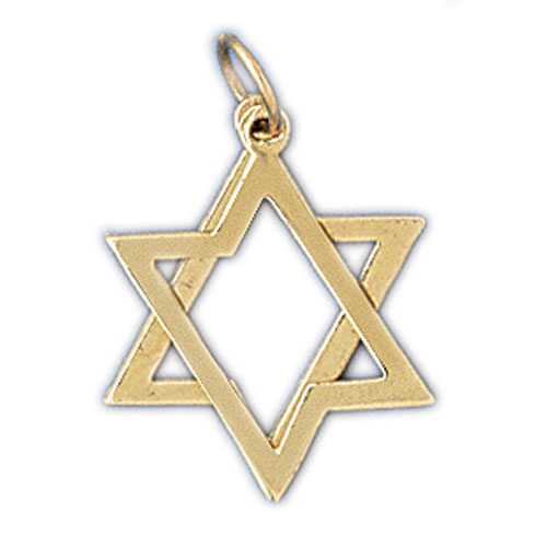 14K Gold Star of David Jewish 2 Piece of Charm