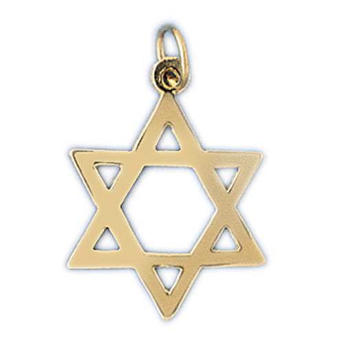 14K Gold Star of David Jewish Star Charm