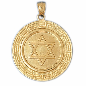 14K Gold Star of David Jewish Star Medallion