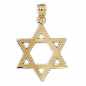 14K Gold Star of David Jewish Star Pendant