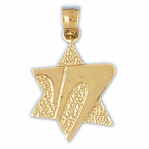 14K Gold Star of David Life Charm