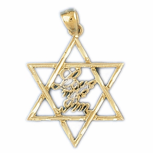 "14K Gold Star of David ""Love Me I'm"" Jewish Pendant"