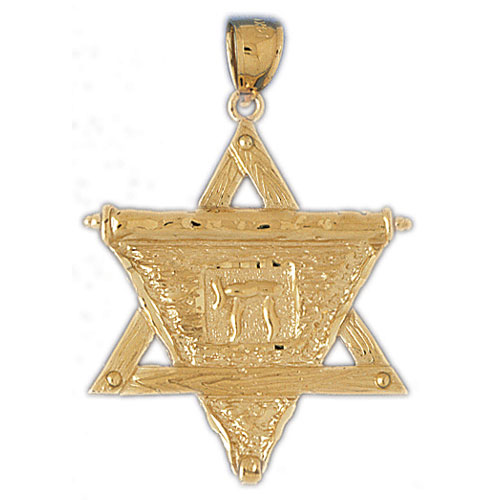14K Gold Star of David w/Chai On Scroll Pendant