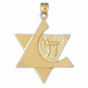 14K Gold Star of David w/Chai Pendant