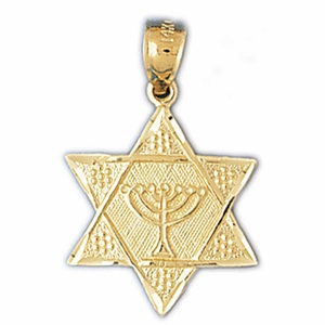 14K Gold Star of David w/Jewish Menorah Charm
