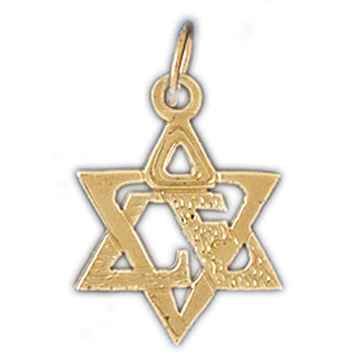 14K Gold Star of David w/Love Charm