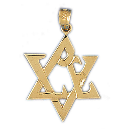 14K Gold Star of David w/Love Pendant