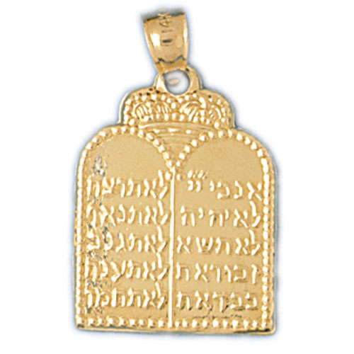14K Gold Ten Commandment Charm