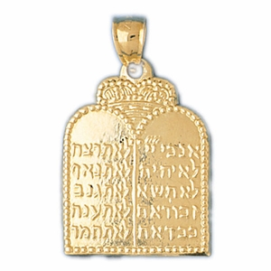 14K Gold Ten Commandment Pendant