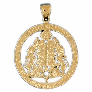 14k Gold Ten Commandments & Star Of David Charm