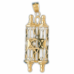 14K Gold Torah Pendant w/Star Of David