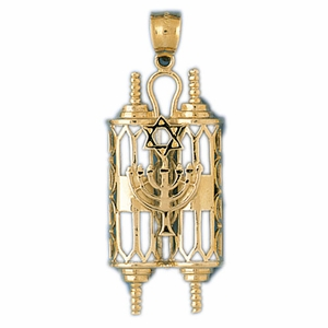 14K Gold Torah w/Menorah & Star Of David Pendant
