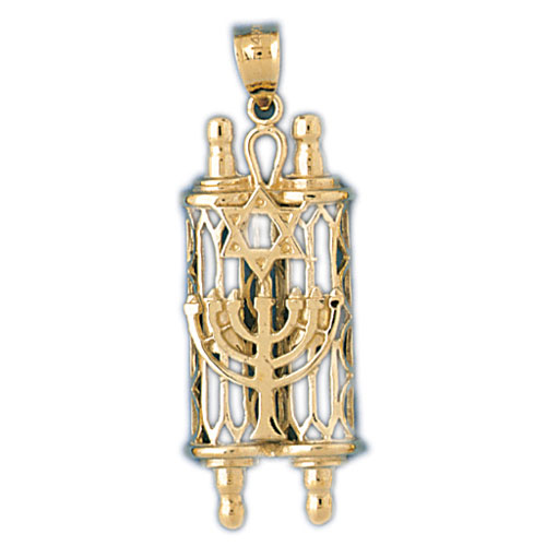 14K Gold Torah w/Star Of David & Menorah Pendant