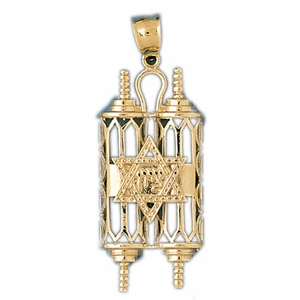 14K Gold Torah w/Star Of David Pendant