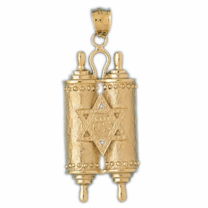 14K Gold Torah w/  Star Of David Pendant