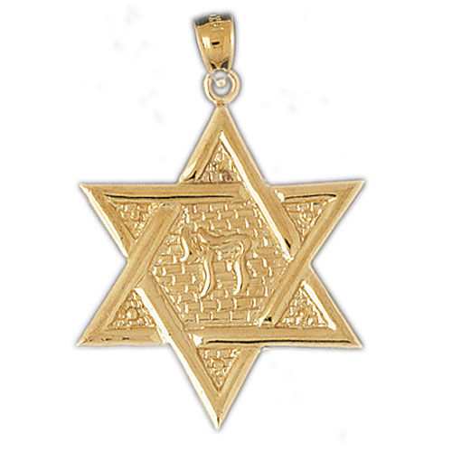 14Kt Yellow Gold Star of David w/Chai Life Pendant