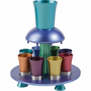 Aluminum Kiddush Fountain -  Goblet and 8 Cups - Colorfull