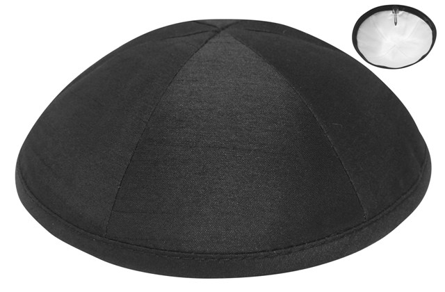 Black Raw Silk Kippah