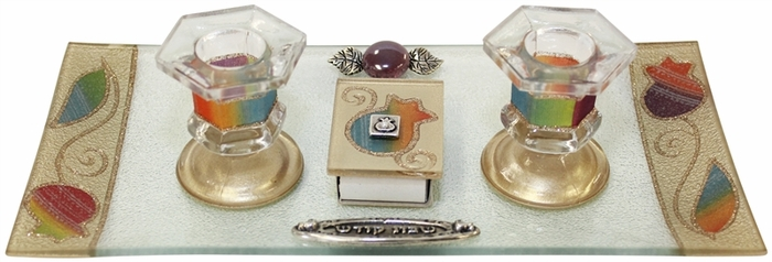 Candle Stick With Tray And Matchbox Small Applique - Rainbow