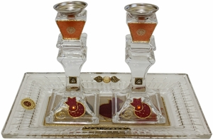 Candle Stick With Tray Medium Applique - Red Pomegranate